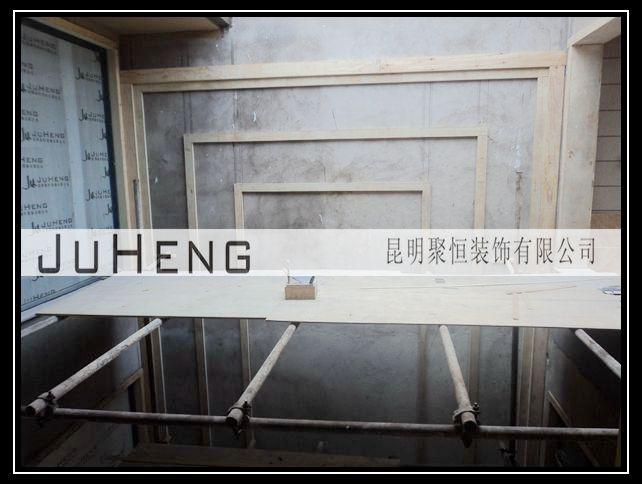 图为:木工中空背景墙边框造型